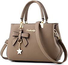 JJLIKER Women Leather Soft Handle Handbags Totes Fashion Zipper Crossbody Messenger Pack with Accessories