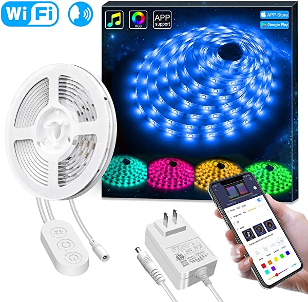 Smart LED Strip Lights Works With Alexa Govee APP Control Waterproof 16 4ft RGB LED Light Strip WiFi Sync With Music 16 Million Colors 5050 LED Lights For Home Kitchen TV Party