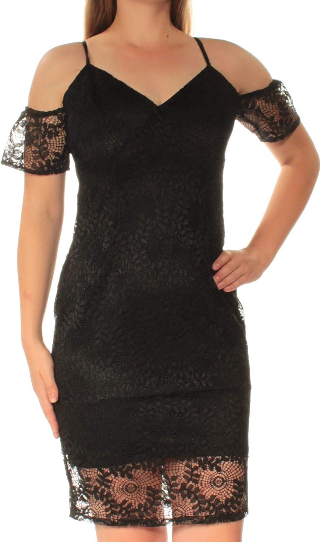GUESS Women's Cold Shoulder Dress Lace 海外限定 Midi 在庫処分