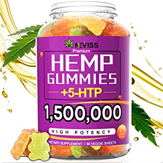 Hemp Gummiés 1,500,000 with 5-HTP, Hemp Gummiés for Pain and Anxiety Relief, Stress & Inflammation Relief, Sleep, Calm & M...