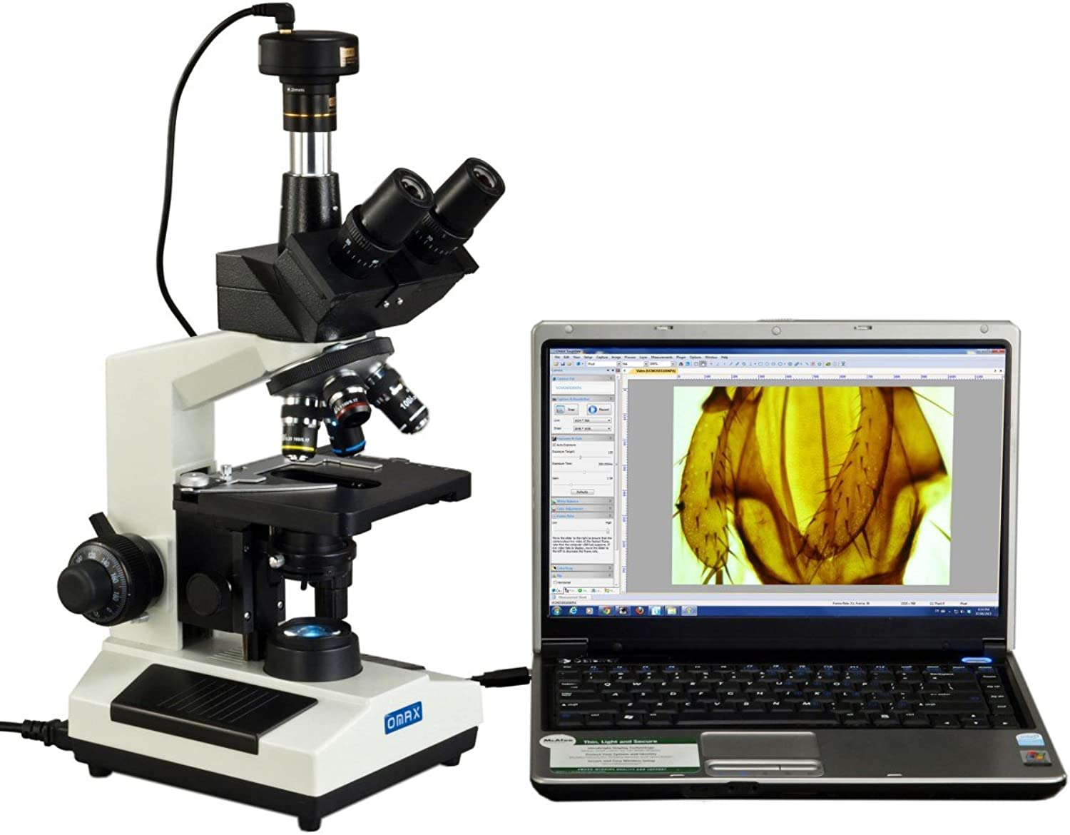OMAX 40X2500X Lab Trinocular Compound LED Microscope with 3MP Digital Camera