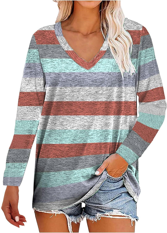 JPLZi Womens Long Sleeve Round Neck Tunic Tops V Neck Basic Striped Casual Loose Shirts Pullover Sweatshirt Baseball Tee