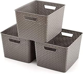 EZOWare Storage Baskets, Large Gray Plastic Organizer Knit Baskets - Pack of 3