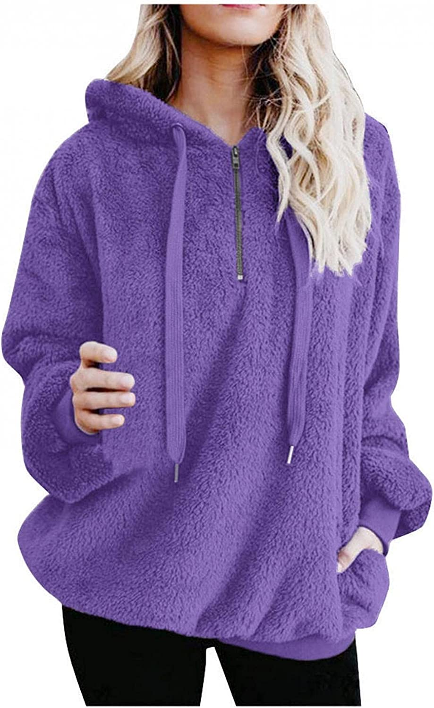 Sweatshirts for Women Casual, Oversized Warm Fuzzy Hoodie Cozy L