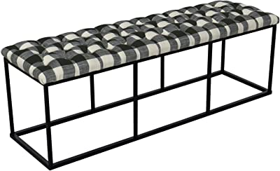 HomePop Upholstered Button Tufted Decorative Bench with Metal Base, Black and White Plaid