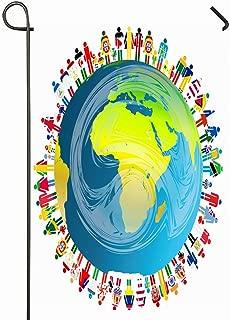 Ahawoso Outdoor Garden Flag 28x40 Inches Global Peace Planet Earth Globe Hand Diversity Holding World Design Seasonal Home Decorative House Yard Sign