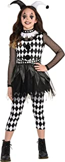 Amscan Punky Jester Halloween Costume for Girls, Includes Top, Cropped Leggings and Headband