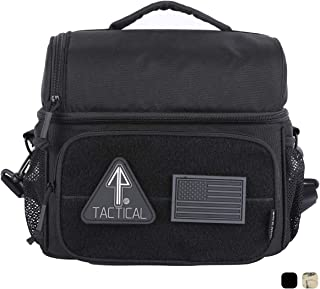 14er Tactical Lunch Bag   Dual Compartment Cooler, Lunch Box   600D Ballistic Material & YKK Self-Healing Zippers   Flag Patch Panel & MOLLE Compatible PALS   Perfect EDC for Adults & Kids (Black)