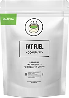 Fat Fuel Company Keto Matcha Green Tea Powder | MCT, Coconut Oil, Himalayan Salt & Grass-Fed Butter | Organic Ingredients | Energy, Focus , Detox | Perfect Drink For Low-Carb Diet | 15 Packets