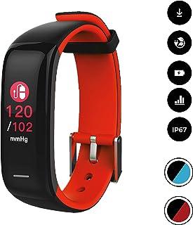 novasmart - Reloj deportivo runR II con correa inteligente y pantalla en color, con registro de frecuencia cardíaca y presión arterial, contador de calorías y pasos, y control del sueño, negro/rojo