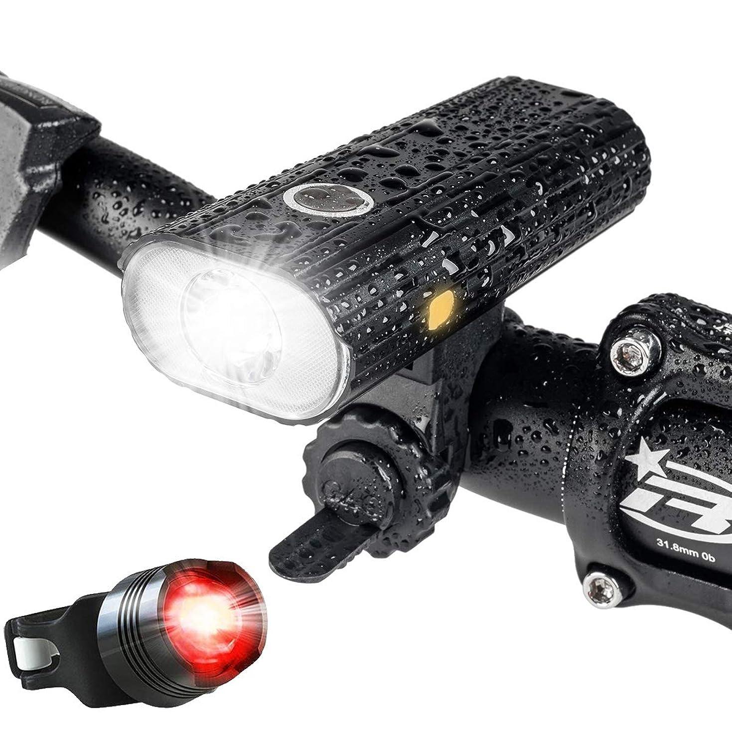 ジャーナリストゴミ窒息させる自転車 ライト、USB 充電式 LED 自転車 ヘッドライト、800ルーメン、5点灯モード懐中電灯 - 夜間乗り/キャンプ/ウォーキングドッグに最適