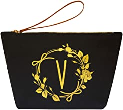 ElegantPark V Initial Monogram Personalized Travel Makeup Cosmetic Bag Wristlet Pouch Gifts Black with Zipper Canvas