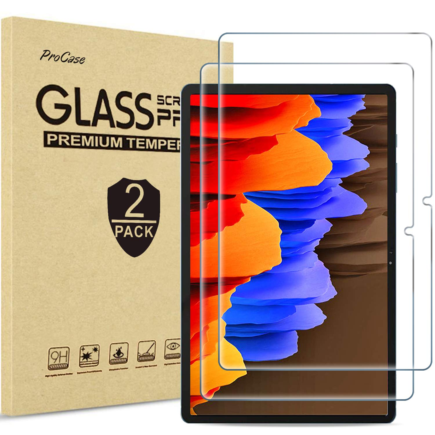 [2 Pack] ProCase Galaxy Tab S7 Plus 12.4 Inch 2020 Screen Protector T970 T975 T976, Tempered Glass Screen Film Guard for…