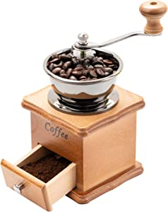 Premium Wooden Manual Coffee Grinder, Vintage Coffee Bean Spice Hand Grinding Machine, Mill Hand Crank Coffee Grinders, Portable Coffee Grinder, Retro Wood Coffee Machine Grind Settings & Catch Drawer