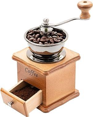 Premium Wooden Manual Coffee Grinder, Vintage Coffee Bean Spice Hand Grinding Machine, Mill Hand Crank Coffee Grinders, Porta