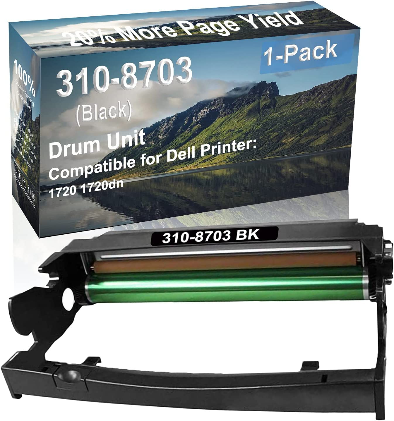 1-Pack Compatible Drum Unit (Black) Replacement for Dell 310-8703 Drum Kit use for Dell 1720 1720dn Printer
