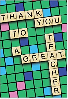 Thank You to a Great Teacher - Thank You Note Card with Envelope (4.63 x 6.75 Inch) - Board Game, Fun Appreciation Card for Professor - Smart and Sweet, Gratitude Notecard from Students 9123