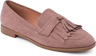 RF ROOM OF FASHION Women's Square Toe Loafer Moccasin Comfortable Work Flats Blush SU Size.8