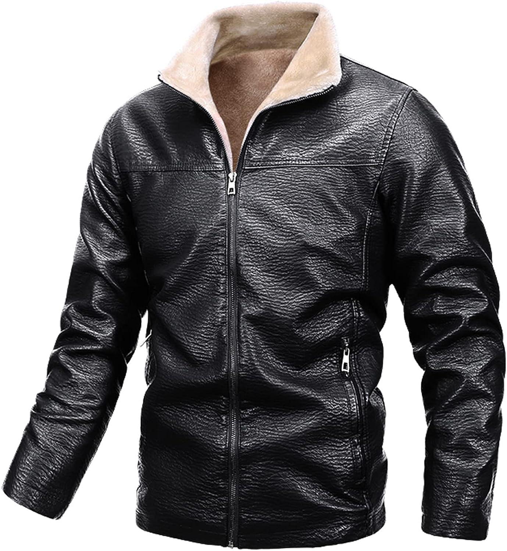 Men's Faux Fur Jacket Lapel Long Sleeve Zipper Casual PU Leather Motorcycle Outwear Warm Coat