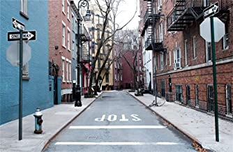 LFEEY 7x5ft Manhattan City Street Backdrop for Photography West Village New York Buildings Downtown NYC Alley Guide Board Stop Parking Background Photo Studio Props