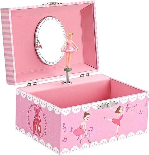 SONGMICS JMC019PK Boîte à bijoux musicale pour enfant Ballerine Grand compartiment avec miroir Mélodie de Cygnes Cade...