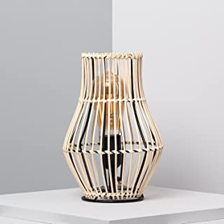 LEDKIA LIGHTING Lampe à Poser Arawa Sulu 260xØ180 mm Naturel E27 Rotin pour Décoration Salon, Chambre, Cuisine