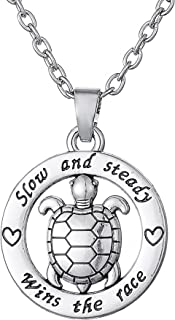 "Turtle ""Slow And Steady Wins The Race "" Collar redondo de joyería inspiradora"