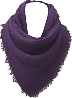 World of Shawls Chic Ladies Cotton Blend Crinkle Distressed Effect Scarf with Fringed Edges