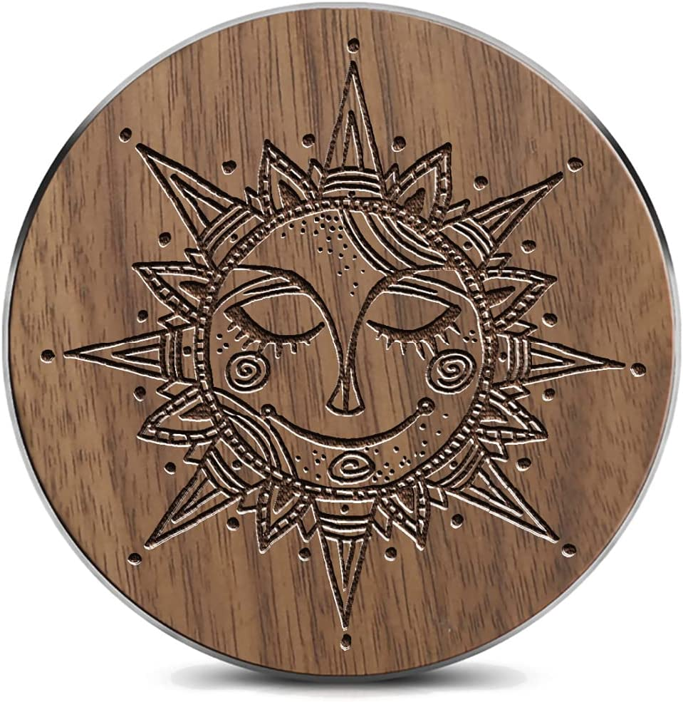 Wooden Wireless charger15W outlet Tribal Hand Our shop most popular Drawn Sun Mandala Symbol