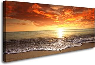 Baisuart-S0262 بوم چاپ دیوار هنر Sunset Ocean Beach تصاویر نقاشی عکس نقاشی اتاق نشیمن دکوراسیون منزل منازل مدرن و کشیده شده از قاب های چشم انداز Gasce