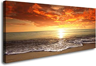 Baisuart-S0250 Canvas Prints Wall Art Sunset Ocean Beach Pictures Photo Paintings for Living Room Bedroom Home Decorations Modern Stretched and Framed Seascape Waves Landscape Giclee Artwork