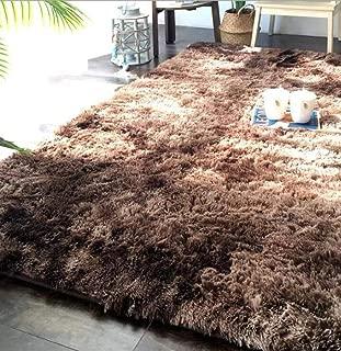 Sabull Rectangle Gradient Color Hairy Carpet Faux Mat Long Plush Fur Plain Fluffy Soft Area Rug Home Decor