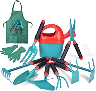 Fun Little Toy 12 PCs Kids Gardening Tool Set, Outdoor Toys for Kids Includes Shovel, Fork, Rake, Gloves and Apron