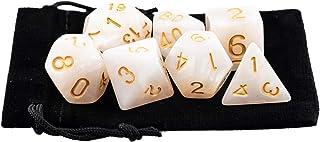 Kit 7 Dados RPG de Mesa D&D Opaco Perolado D4 D6 D8 D10 D10% D12 D20 Cor BRANCO ROYAL + 1 Bolsa