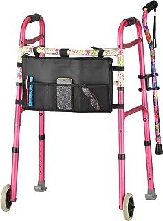 """NOVA Pink Folding Walker Package with Cane, Cane Holder, Walker Bag & Walker Skis, The Ultimate Folding Walker Bundle, Pink Walker with """"Pink Garden"""" Cane"""