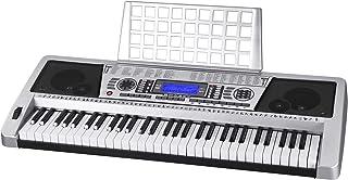 AW 61 Key Electric Keyboard Organ LCD Screen MIDI Silver She