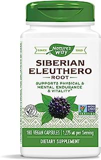 Nature`s Way Premium Herbal Siberian Eleuthero, 1,275 mg per serving, 180 Capsules