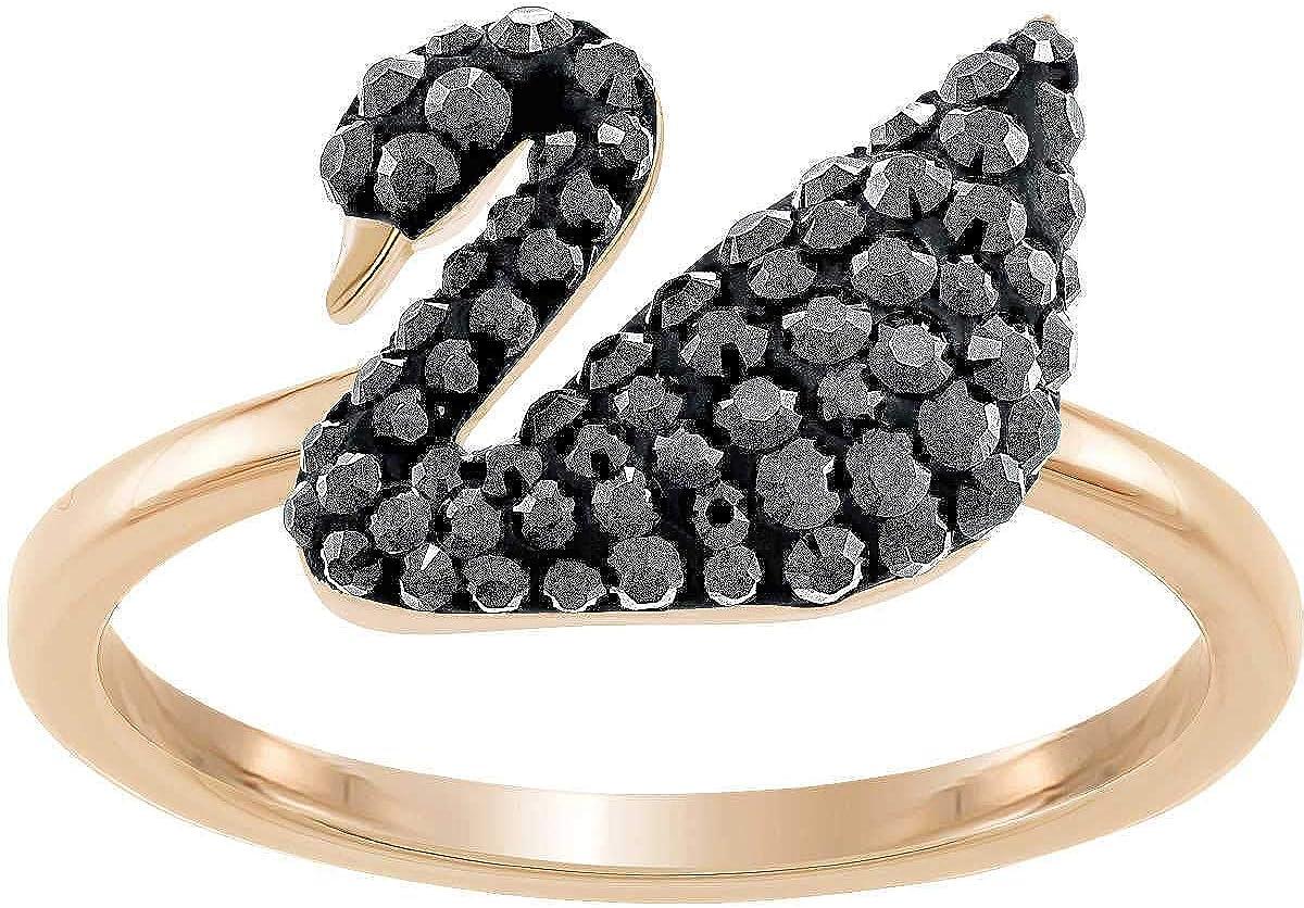 SWAROVSKI Iconic SWAN Ring, Black, Rose Gold Plating