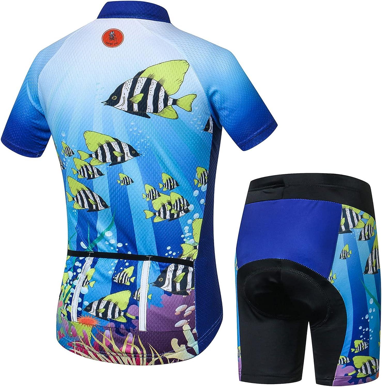 Cycling Jersey Shorts Set Padded Suit Kids Bicycle Tops Shirt Mountain Bike Riding