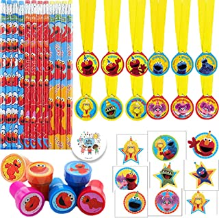 Sesame Street Elmo Birthday Party Favor Pack For 12 Guests With Elmo Pencils, Sesame Street Award Medals, Elmo Stampers, Sesame Street Tattoos, and Exclusive Pin By Another Dream