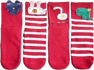 4 pares de calcetines navideños calcetines transpirables de dibujos animados calcetines de algodón para bebés y niños
