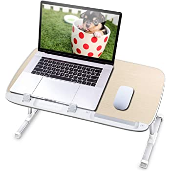 AboveTEK Laptop Desk for Bed, Portable Table Tray with Foldable Legs, Height Adjustable Notebook Computer Stand for Reading Writing on Bed Couch Sofa Floor