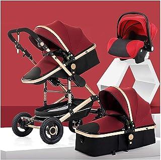 YQLWX Barnvagn 3 i 1 resesystemvagn Buggy med spädbarnsäte, högt landskap Anti-Shock Baby Child Pushchair med 5-punkts sel...