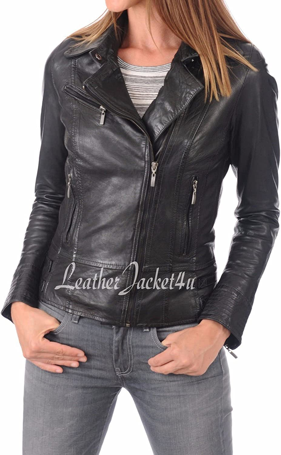 Women's Stylish Genuine Lambskin Leather Jacket 99