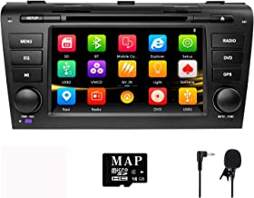 NVGOTEV Car Audio Stereo Headunit Fits for Mazda 3 2004 2005 2006 2007 2008 2009 DVD Player Radio 7 Inch HD Touch Screen GPS Navigation with Bluetooth Steering Wheel Control 16GB Map Card