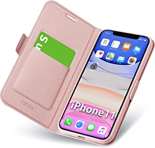 iphone 11 ケース 手帳型 薄型 スマホケース PUレザー 全面保護 携帯カバー カード収納 マグネット付き ストラップホール付き スタンド機能 ワイヤレス充電対応 シンプル おしゃれ (あいふぉん11ケース ローズゴールド)