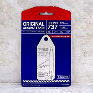 AVT014 AviationTag Boeing 737 (SAS) White Original Aircraft Skin Keychain/Luggage Tag/Etc with Lost & Found Feature