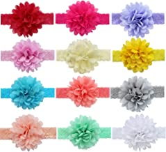 FEESHOW Baby Girls' 12 Pcs 4 Inch Girls Flower Lace Headband Hair Bow Band Accessories one size Multi-color