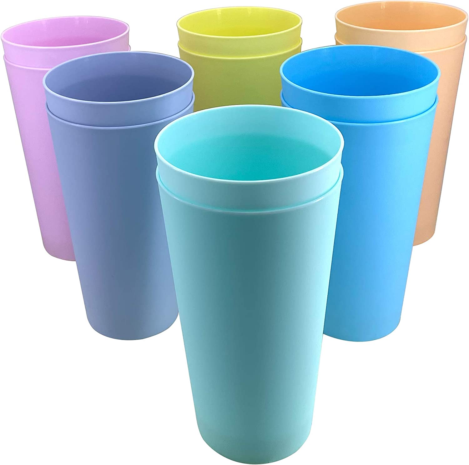 32-ounce Plastic Tumblers ,Large Drinking Cups BPA-free Reusable Dishwasher Safe 6 Assorted Colors Set of 12