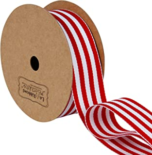 LaRibbons Red and White Striped Grosgrain Ribbon/Gift Wrap Ribbon, 1 Inch by 10 Yard/Spool